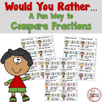 Would You Rather Comparing Fractions Task Cards