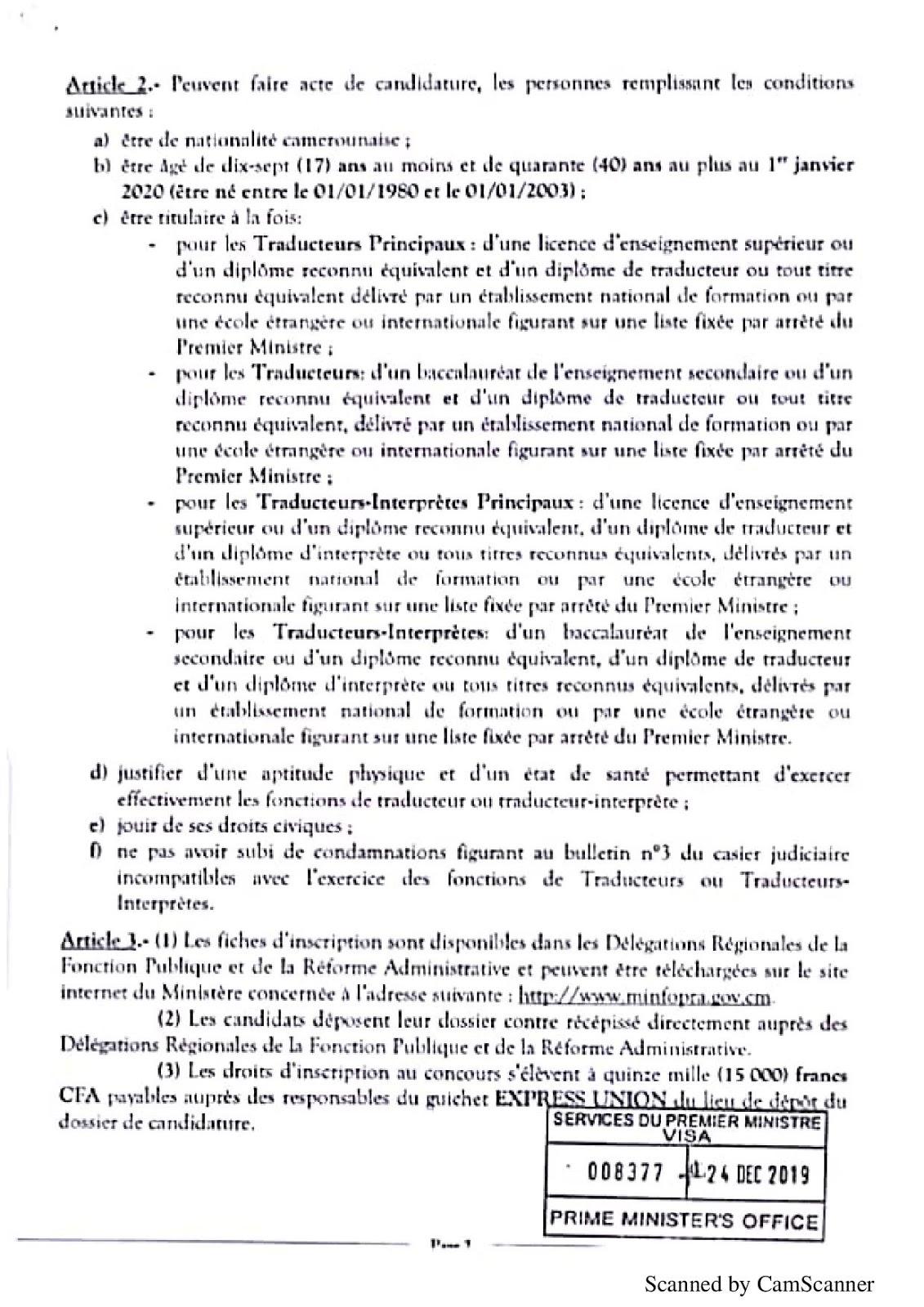 Arrêté du Concours pour le recrutement spécial de 100 Traducteurs et Interprètes 2020 papge 2