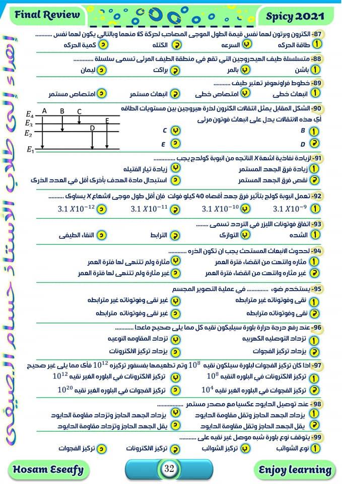 مراجعة ليلة الامتحان في الفيزياء.. 100سؤال بالاجابات  بابل شيت للصف الثالث الثانوي   11