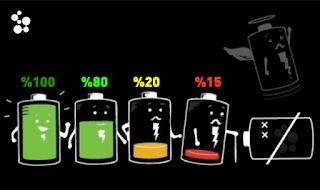 نسبة شحن بطارية هاتف الجوال