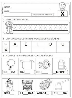 Atividades de alfabetização, atividades do alfabeto, Atividades para 1º ano, Letra X,