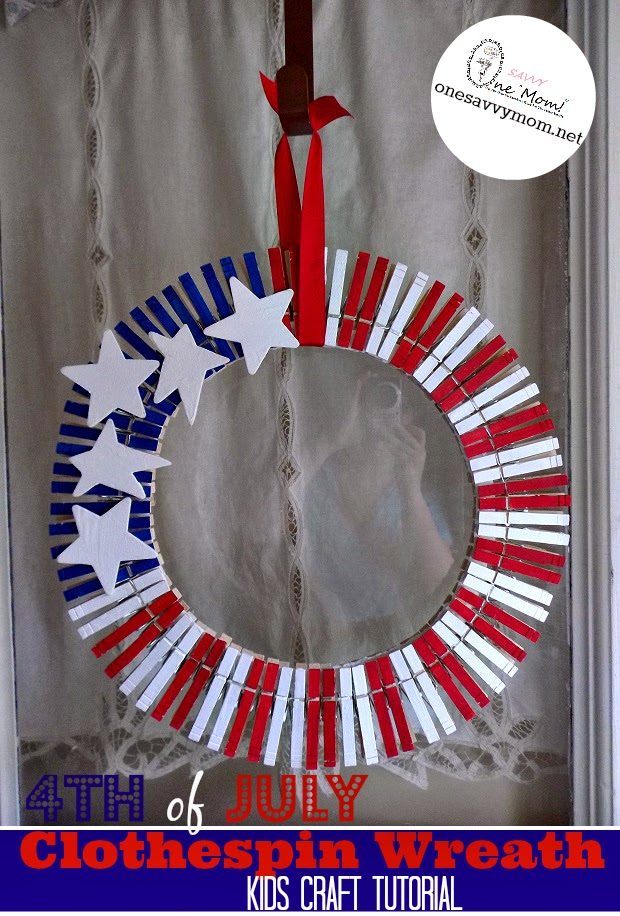 One Savvy Mom Nyc Area Mom Blog 4th Of July Clothespin Wreath Kids Craft