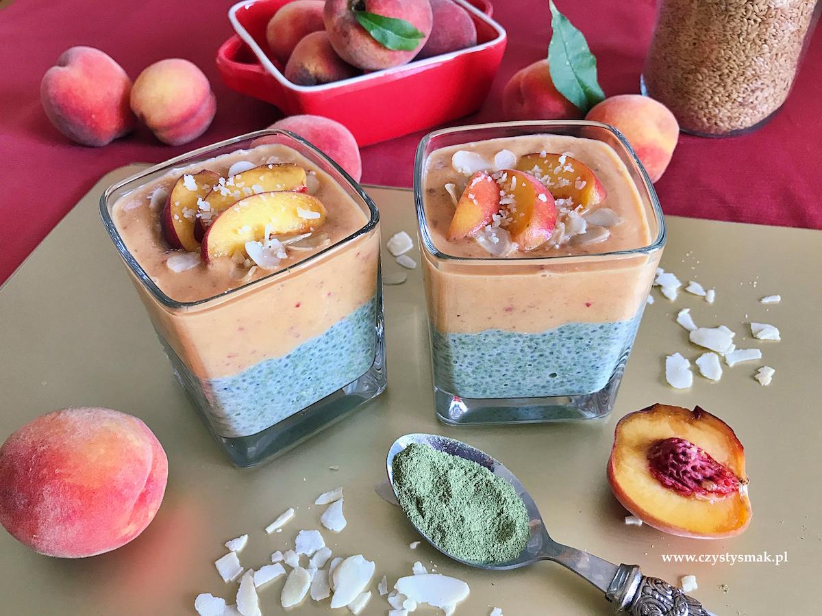 Wegański pudding z brzoskwiniami