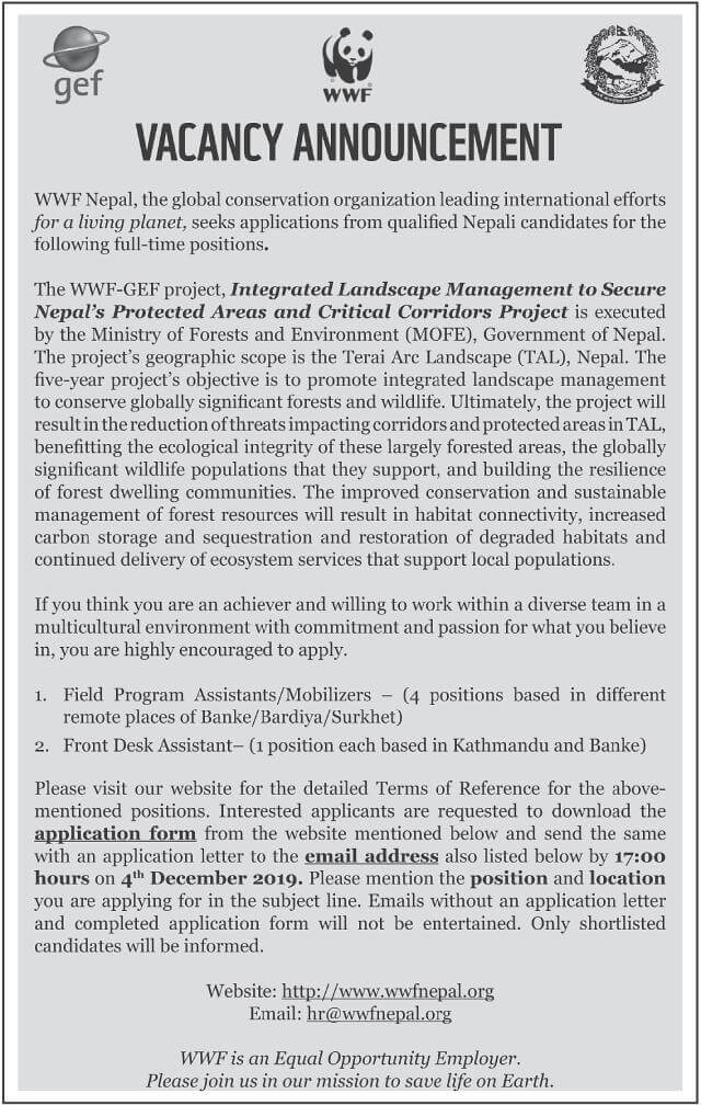 WWF Nepal Vacancy Notice