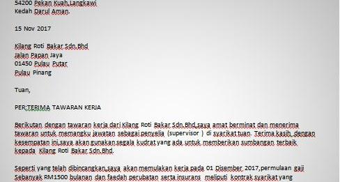 Business Format Surat Terima Tawaran Kerja