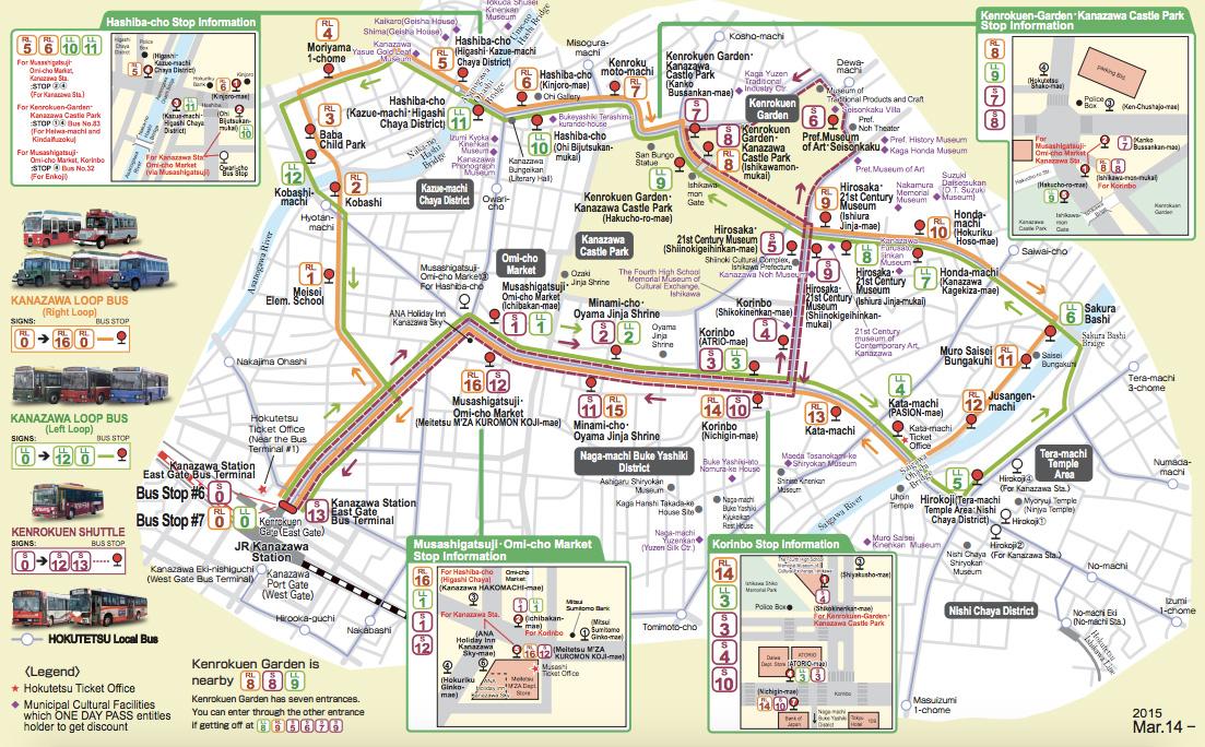 แผนที่ Kanazawa สำหรับนักท่องเที่ยว