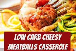 Low Carb Cheesy Meatballs Casserole Recipe #lowcarb #meatballs #casserole #dinner