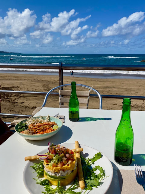 Lunch at La Bikina, Playa de las Canteras beach, Las Palmas, Gran Canaria, Spain