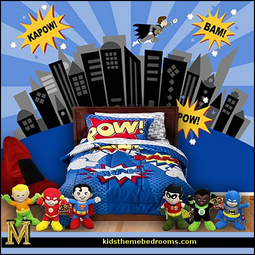 Superheroes bedroom ideas - batman - spiderman - superman decor - Captain America - comic book bedding - batmobile bed - Wonder Woman Girls superhero - marvel wall art Avengers - superman bedding - primary color bedroom ideas - spiderman room decor - decorating with comics -