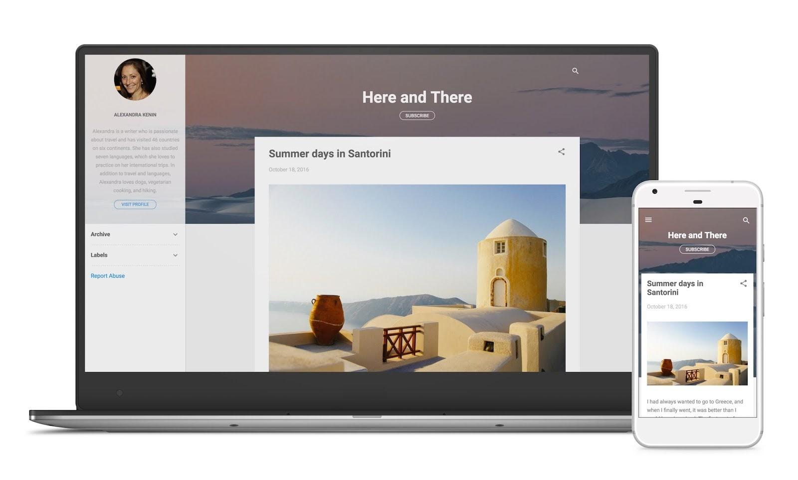 ContempoテーマのBloggerブログのパソコンとスマホのサンプル