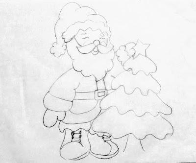 desenho de papai noel com árvore de natal para pintar