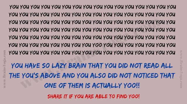 Mistake Puzzle to prove that your brain is lazy