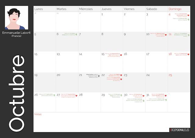Calendario Excepcionales Octubre 2020