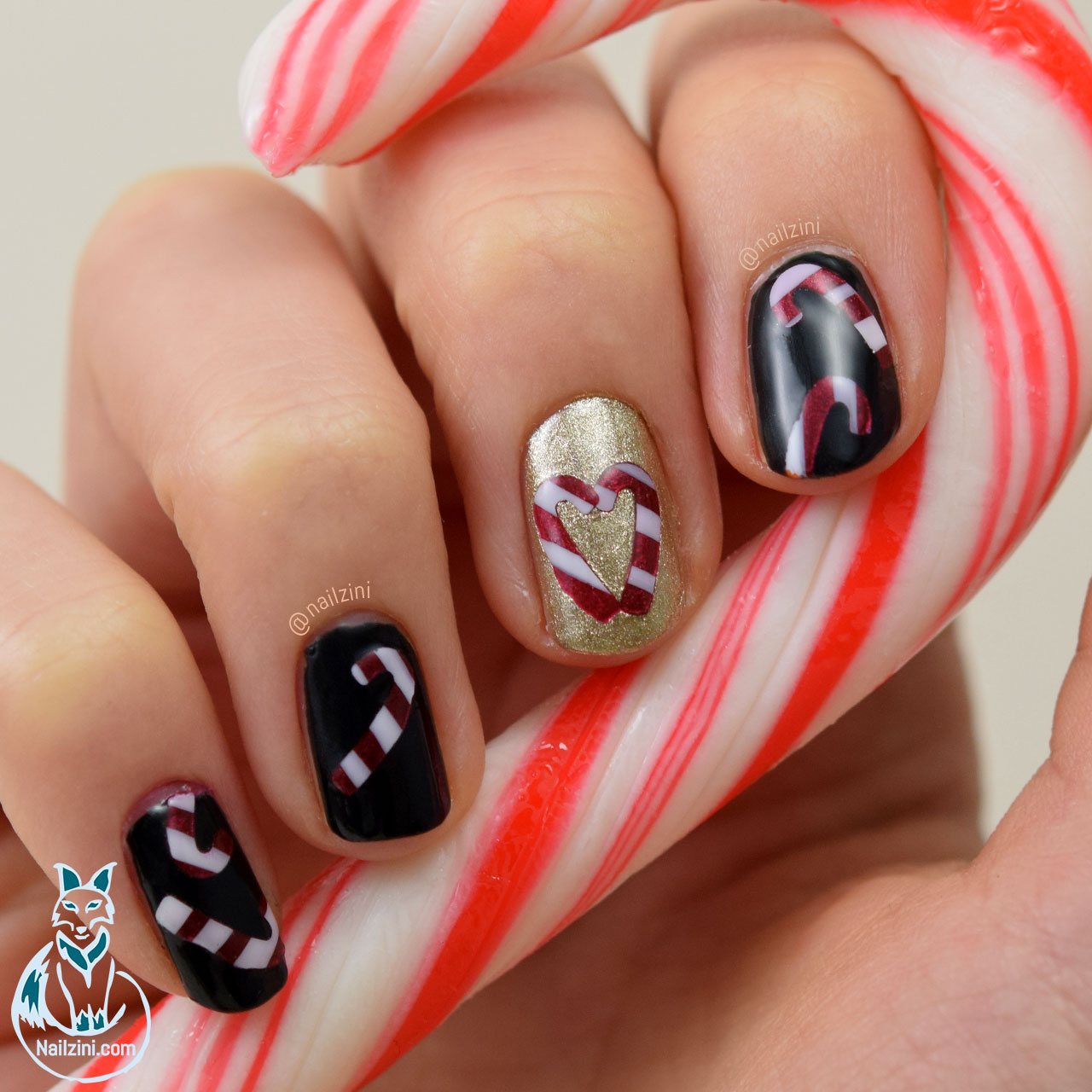 Candy Cane Christmas Nail Art Nailzini A Nail Art Blog