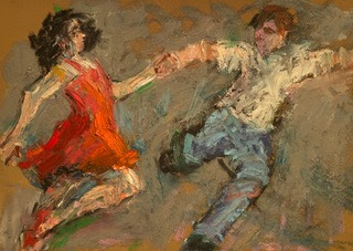 loose figurative drawing dancers colorful energetic