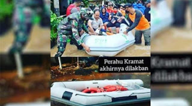 Perahu Karet untuk Evakuasi Korban Banjir Disita Aparat, Logo FP1 Akhirnya Dilakban