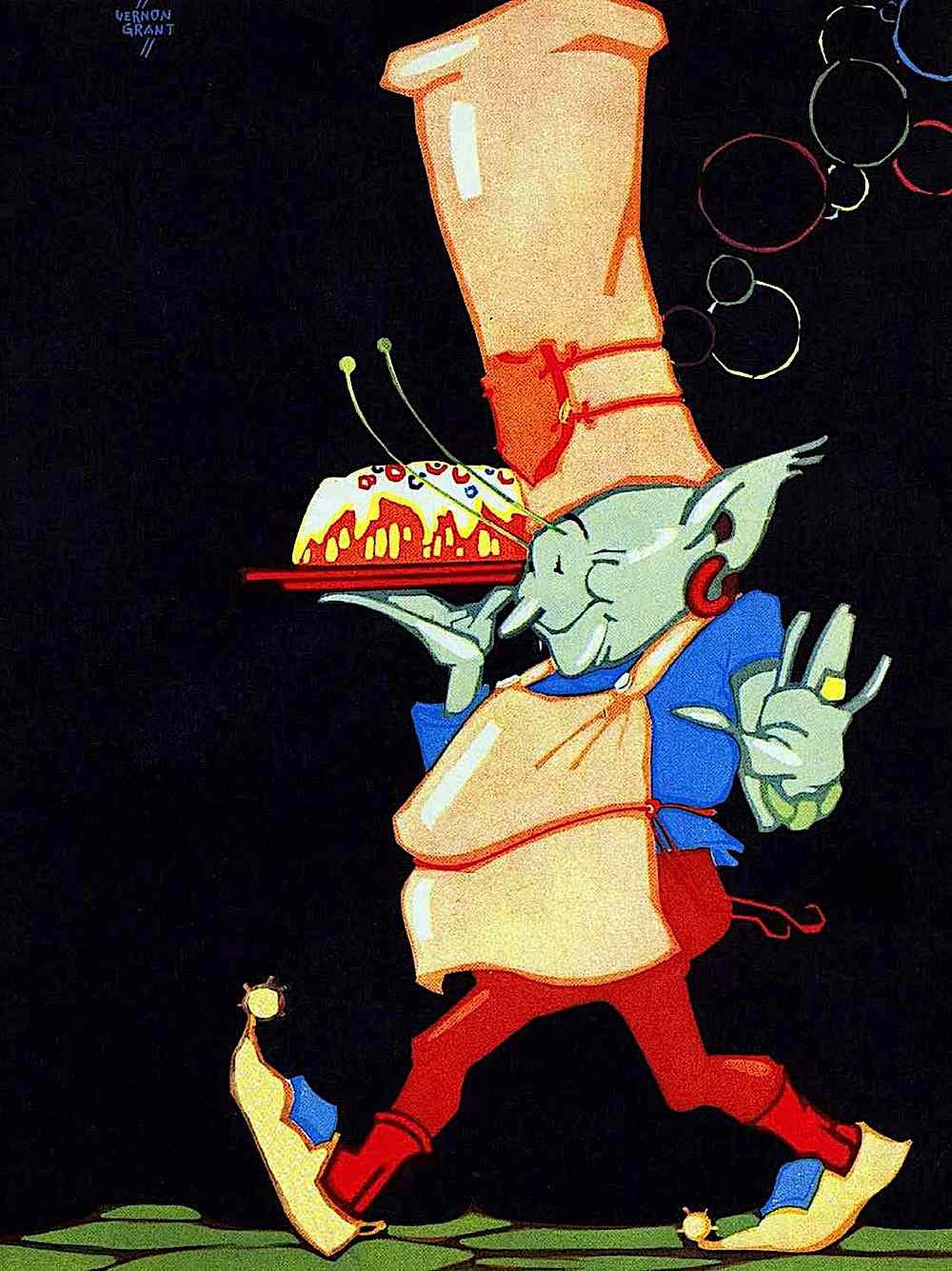 a Vernon Grant children's book illustration of pixie chefs