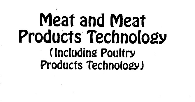 Meat and Meat Products Technology Including Poultry