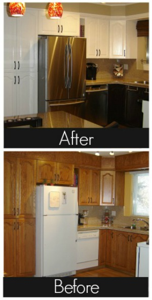 Golden Oak to White and Bright DIY Kitchen Makeover
