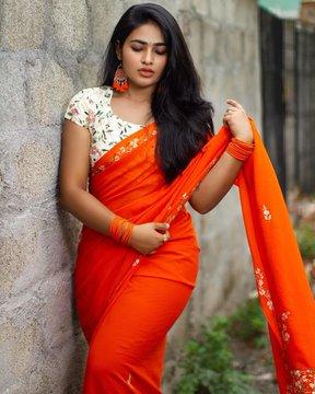 Shruthi Selvam Latest Saree Stills