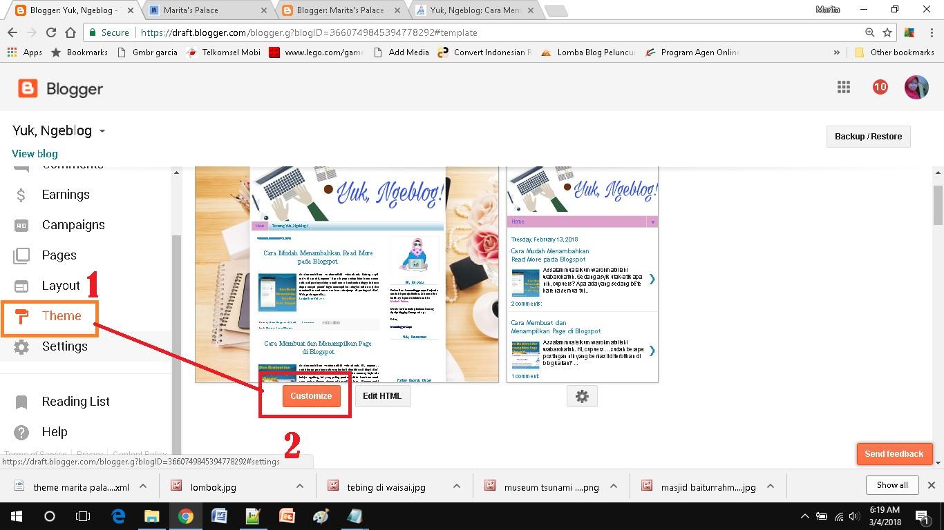 mendesain template blog sederhana pakai fitur yang ada