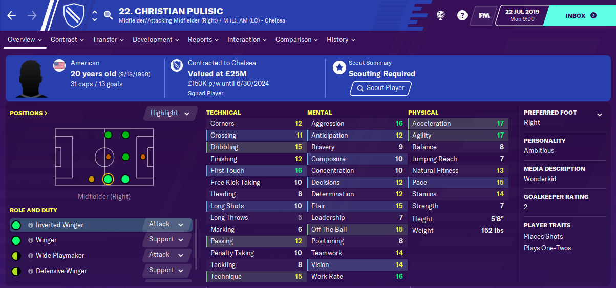 Christian Pulisic: Starting Attributes in FM2020
