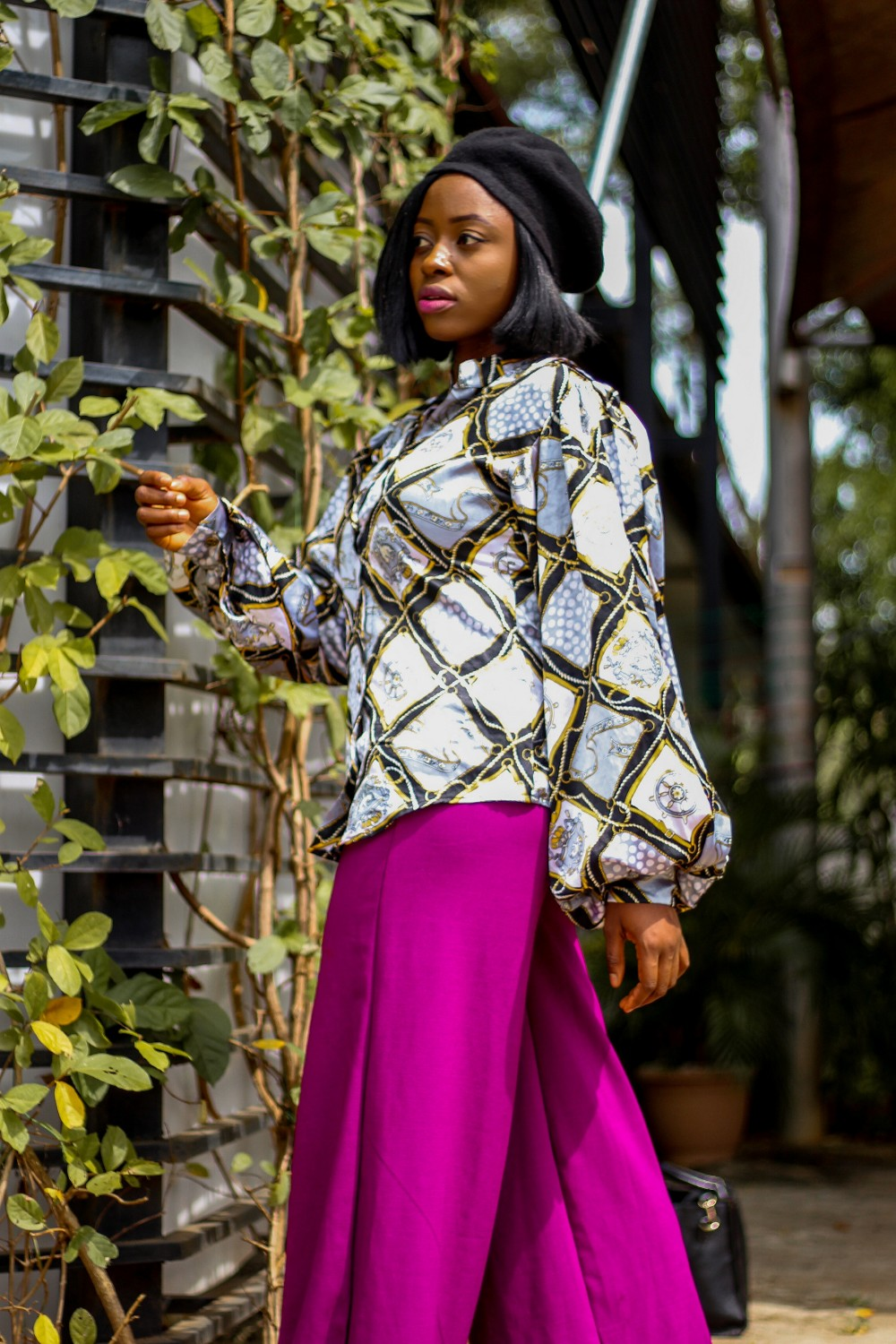 abuja blogger princess audu styles dramatic sleeve vintage top