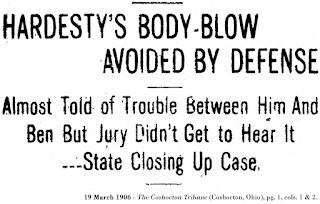 Image of headline, 19 March 1906 - The Coshocton Tribune (Coshocton, Ohio), pg. 1, cols. 1 & 2.