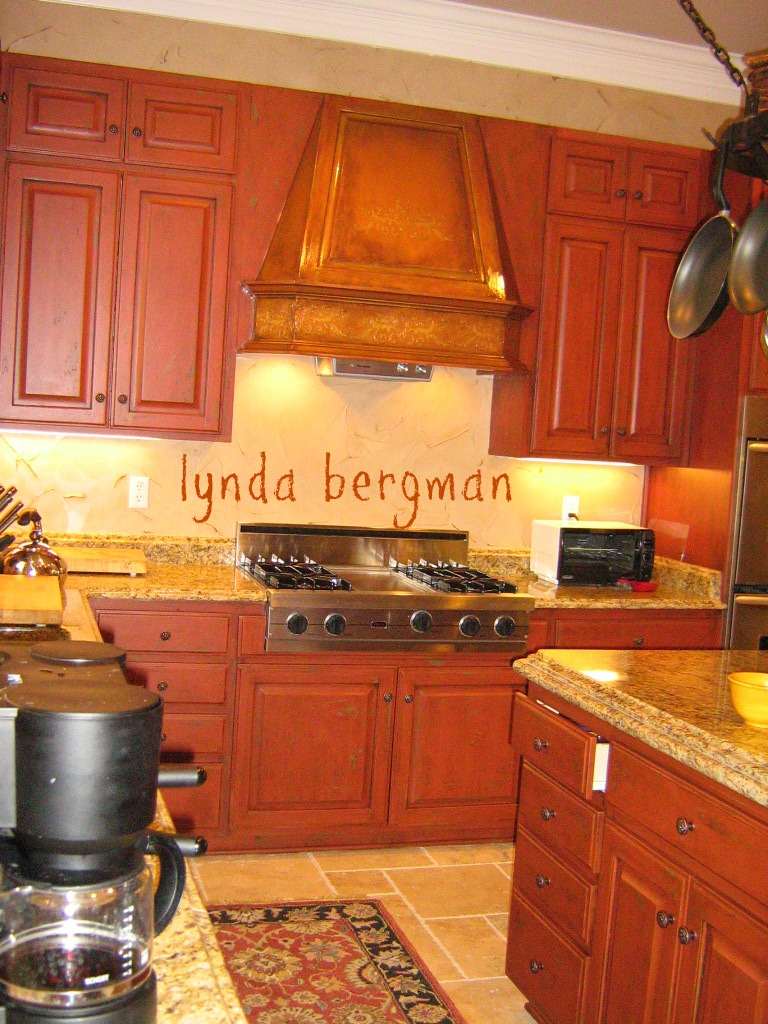 lynda bergman decorative artisan: hand painted red kitchen