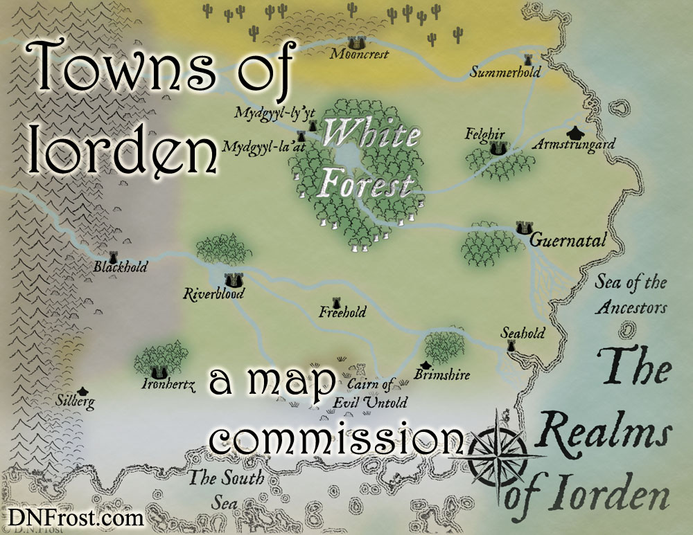 Towns of Iorden, a map commission by D.N.Frost for The Once and Future Nerd http://www.dnfrost.com/2016/09/towns-of-iorden-map-commission.html Part 4 of a series.
