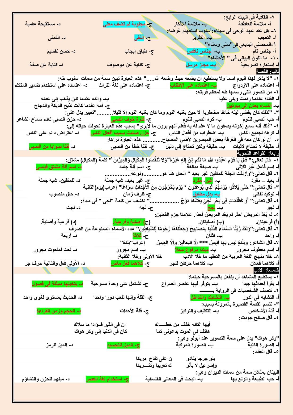 2 نموذج امتحان لغة عربية مجاب للصف الثالث الثانوي 2021 أ/ هاني الكردوني 19