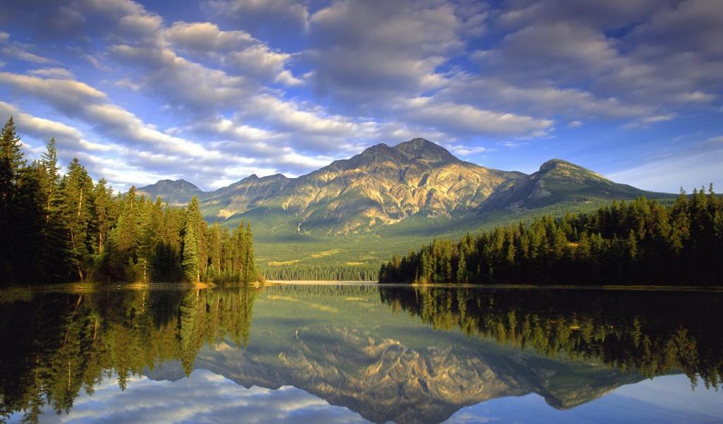 1024x600 Pozadine Za Desktop Odraz Planine U Jezeru