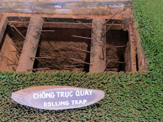 Vietnam War era booby trap at the Cu Chi Tunnels outside Ho Chi Minh City in Vietnam
