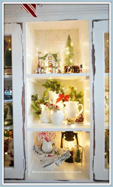 French -Farmhouse -Cottage -White- Dining -Room- Cabinet-Christmas -Vignettes-Open-Shelving-From My Front Porch To Yours