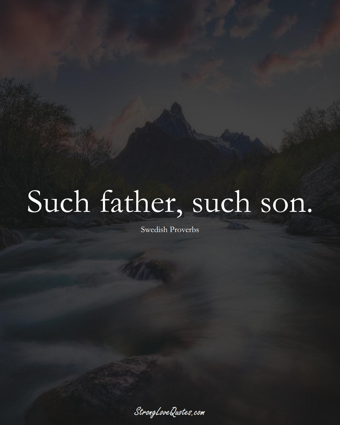 Such father, such son. (Swedish Sayings);  #EuropeanSayings