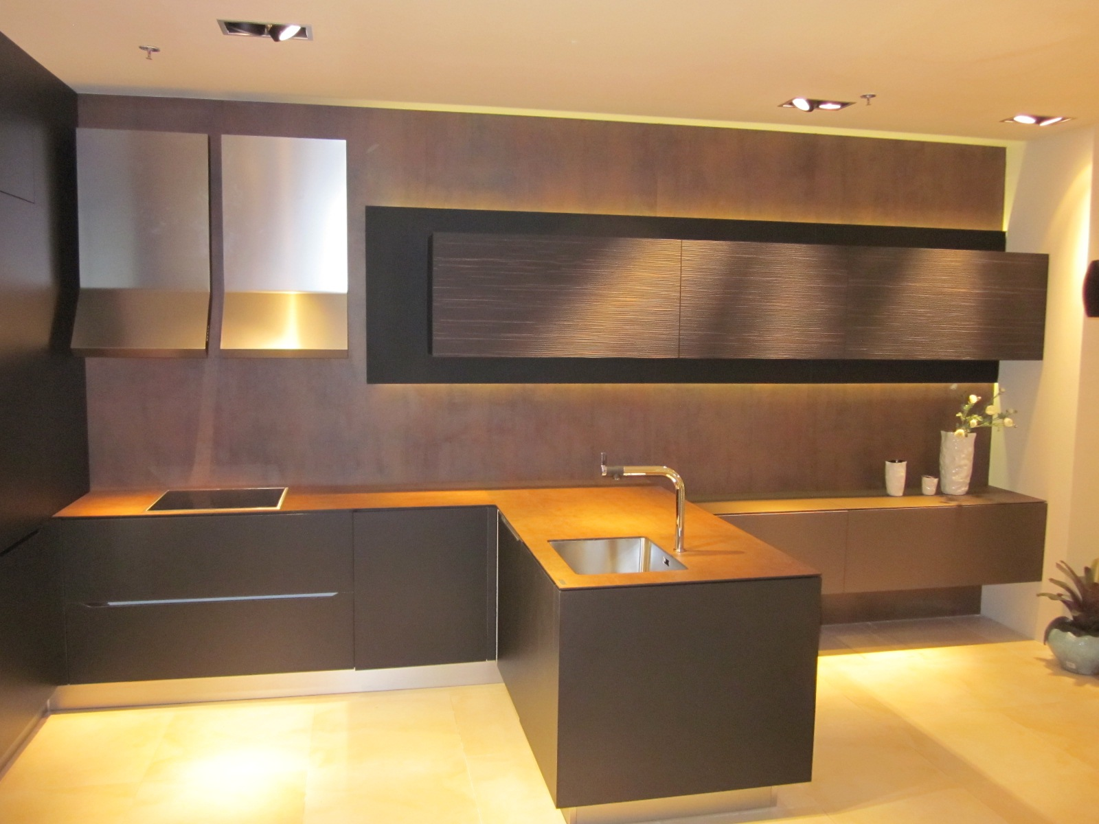 Neolith Iron Corten Countertop With A 10mm 3 8 Slab Eased Edge Copper Full Wall Cladding 5mm 16 Slabs