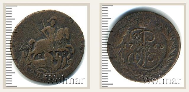 Дизайн монеты копейка 1763 года