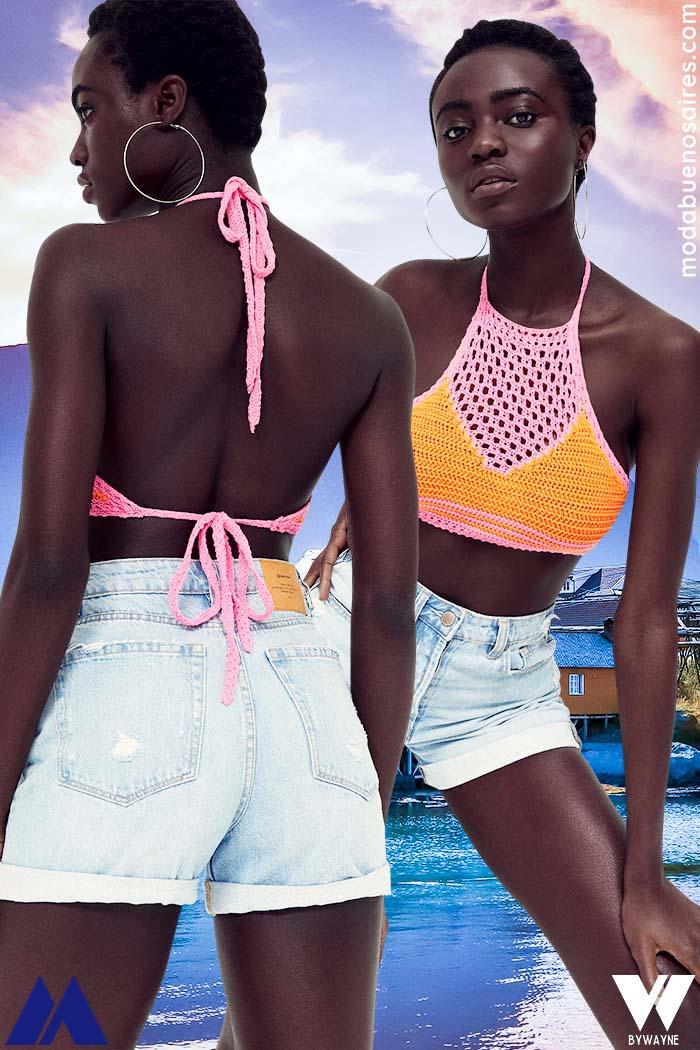 Short de jean y top tejidos verano 2022 moda verano 2022 mujer