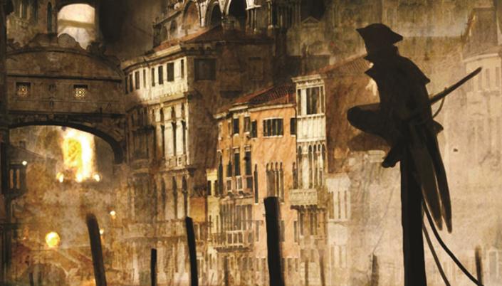 Imagem: ilustração em tons de sépia de uma cidade com vários prédios antigos com janelas, um arco de pedra e vários outros mais ao fundo, chamas brilhando mais ao fundo e uma figura pequena e esguia, de costas, com um chapéu, escondido nas sombras e em pé em uma estaca de madeira.