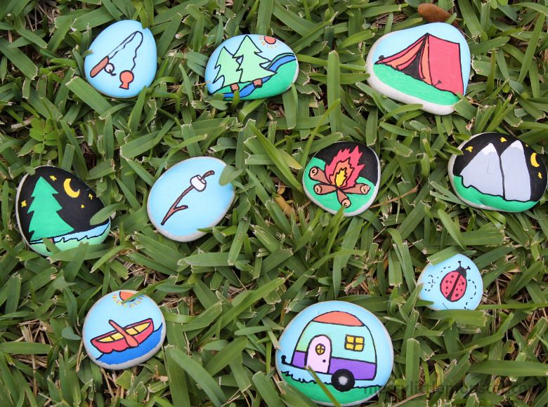 Painted rocks nature craft for kids