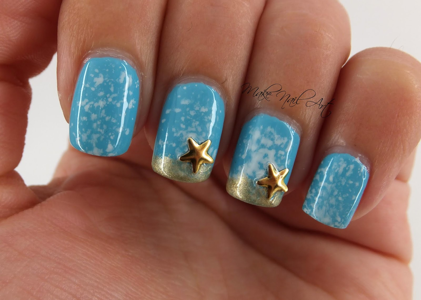 Make Nail Art: Summer Ocean Starfish Nail Art Design Manicure ...