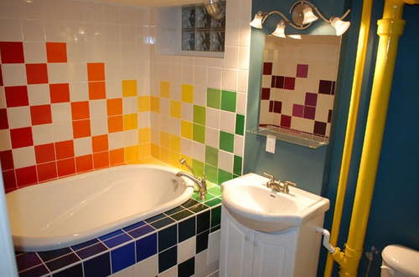RAINBOW TILES PAINT STYLE FOR BATHROOMS