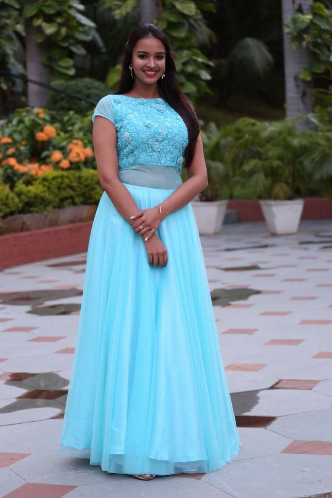 Telugu Actress Pujita At Darshakudu Pre Release In Blue Dress