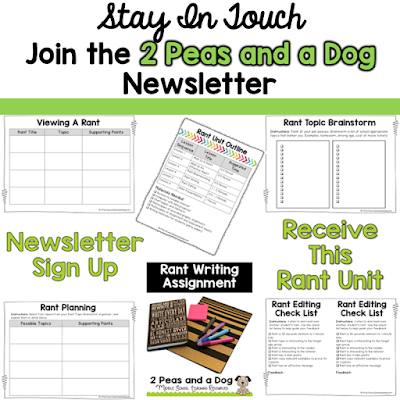Learn more about current education topics and trends when you sign up for the 2 Peas and a Dog mailing list. You will also get our Rant Writing Unit free. This highly engaging unit will make your students want to write and share their ideas.