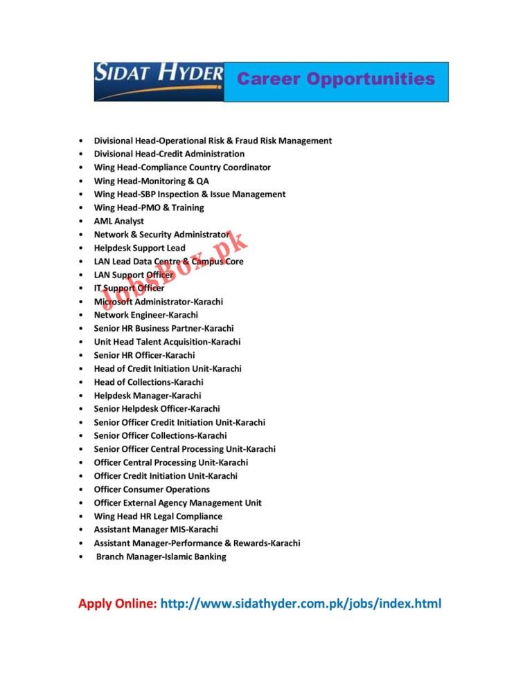 www.sidathyder.com.pk Jobs 2021 - Sidat Hyder Jobs 2021 in Pakistan