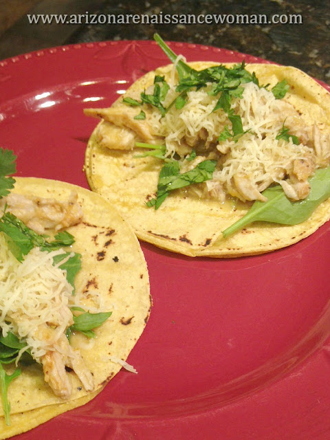 Pork Loin and Apple Tacos with Fresh Greens and Smoked Provolone