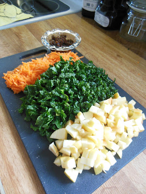 How to make Kale Apple and Carrot Slaw.