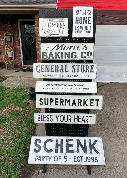 Thrift Store Haul - peg board display to hold signs for Market.