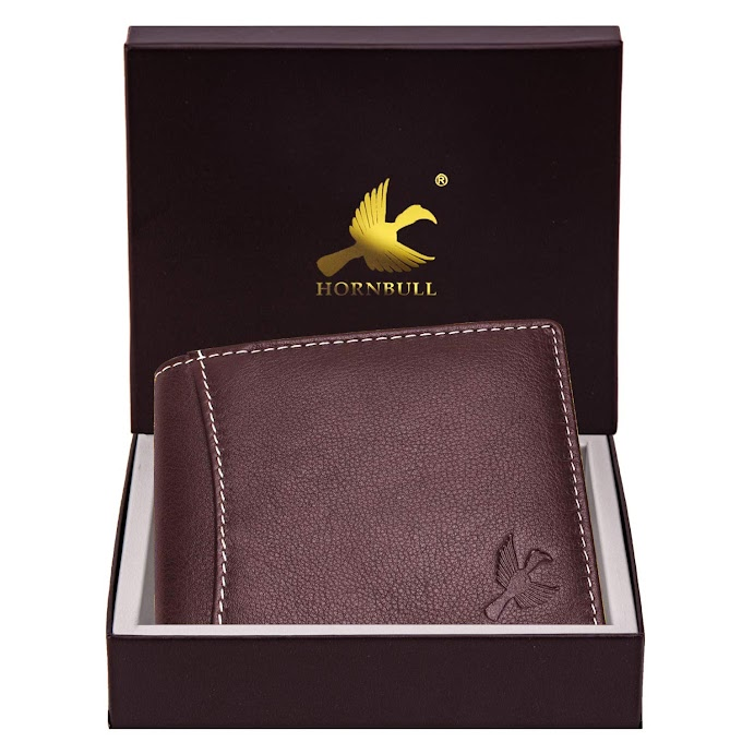 Hornbull Themes Brown Men's Genuine Leather RFID Blocking Wallet