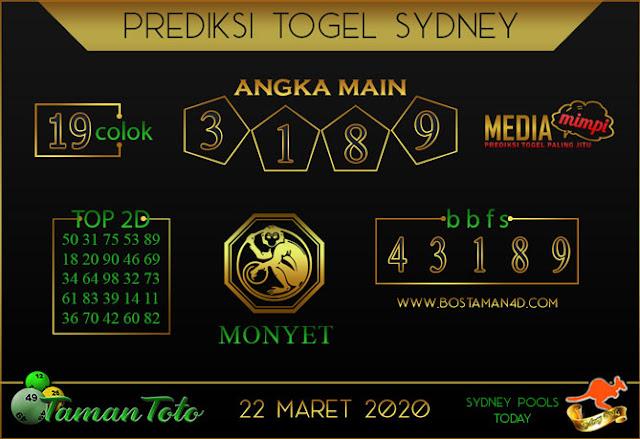 Prediksi Togel SYDNEY TAMAN TOTO 22 MARET 2020